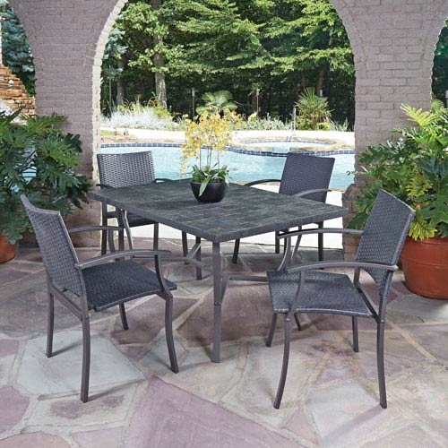 Home Styles Furniture Stone Black 60 X 40 5 Piece Outdoor Dining Set