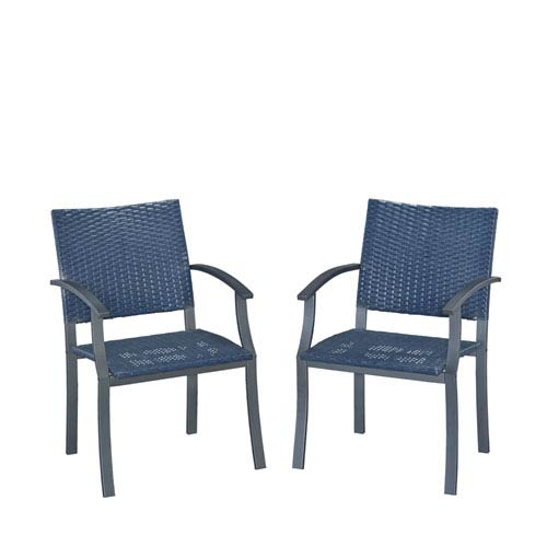 Stone Blue Outdoor Arm Chair, Set of 2