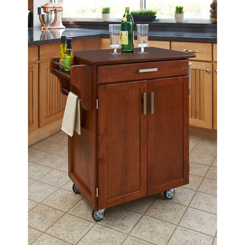 Home Styles Furniture Cuisine Cart Warm Oak Finish with Cherry Top