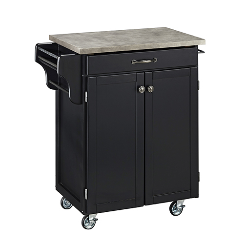 Black Cuisine Cart with Gray Concrete Top