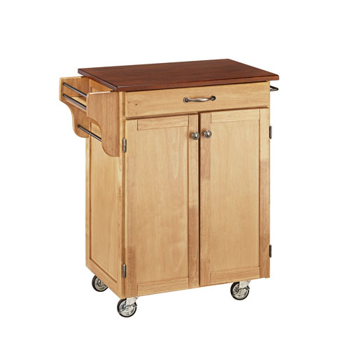Home Styles Furniture Cuisine Cart Natural Finish with Cherry Top