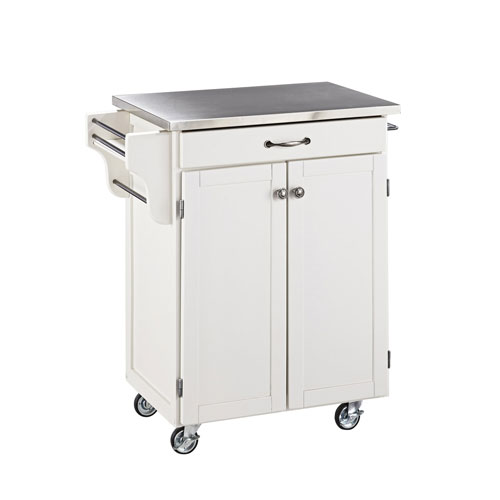 Home Styles Furniture Cuisine Cart White Finish Stainless Top