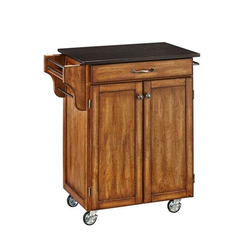 Home Styles Furniture Cuisine Cart Warm Oak Finish Black Granite Top