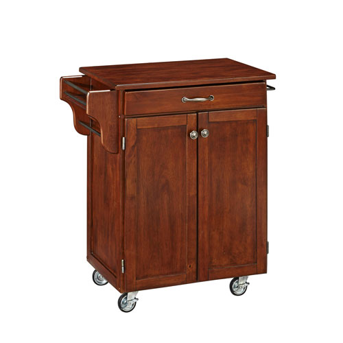Home Styles Furniture Cuisine Cart Cherry Finish with Cherry Top