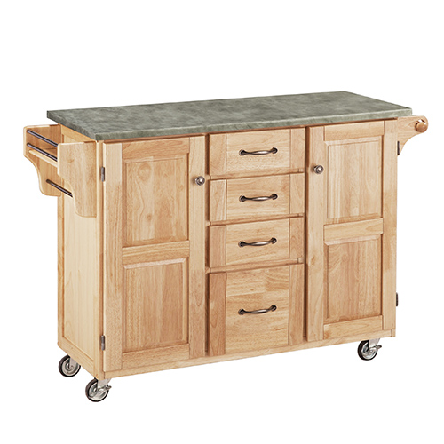 Home Styles Furniture Natural Create-a-Cart with Gray Concrete Top and Two Doors