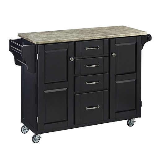 Black Create-a-Cart with Gray Concrete Top and Two Doors