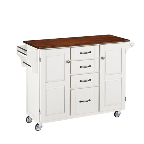 Home Styles Furniture Create-a-Cart White Finish with Cherry Top