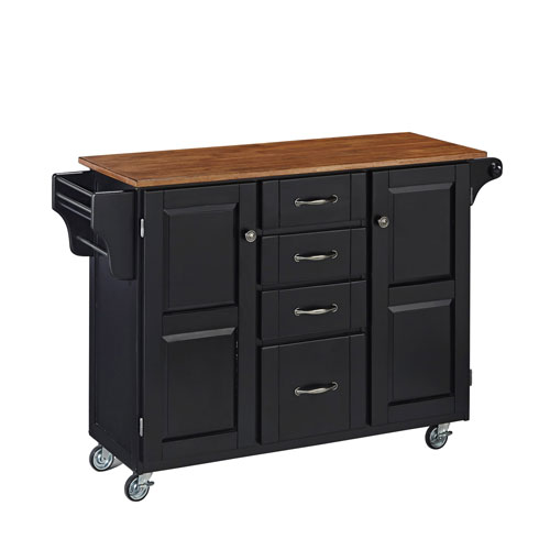 Home Styles Furniture Create-a-Cart Black Finish with Oak Top