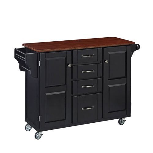 Home Styles Furniture Create-a-Cart Black Finish with Cherry Top