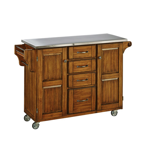 Home Styles Furniture Create-a-Cart Warm Oak Finish Stainless Top