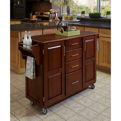 Home Styles Furniture Create-a-Cart Cherry Finish with Oak Top