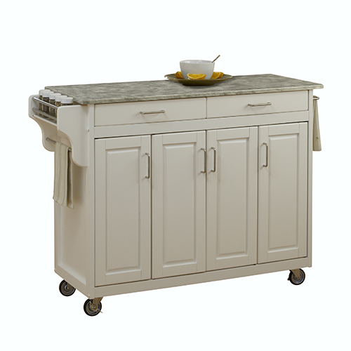 White Create-a-Cart with Gray Concrete Top and Four Doors