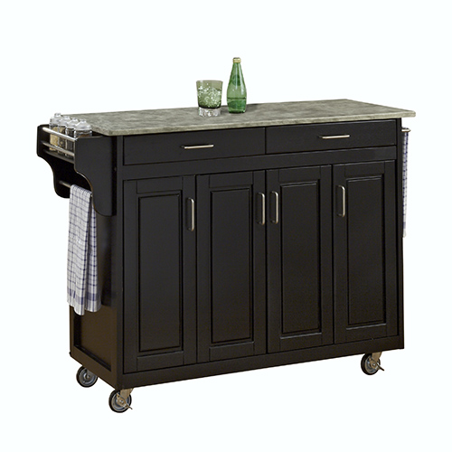 Black Create-a-Cart with Gray Concrete Top and Four Doors