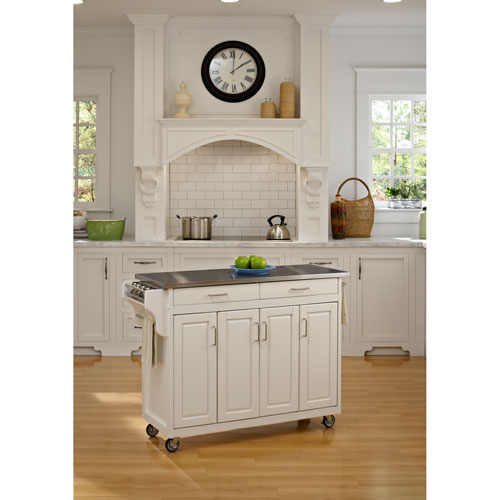 Home Styles Furniture Create-a-Cart White Finish Stainless Top