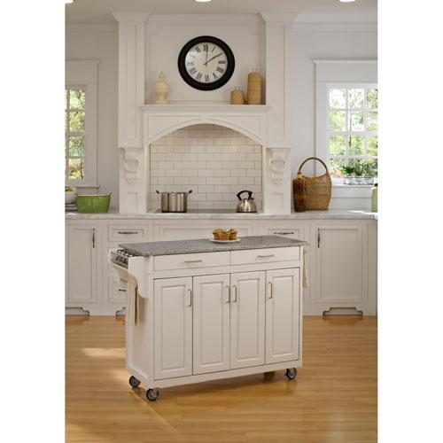Home Styles Furniture Create-a-Cart White Finish SP Granite Top