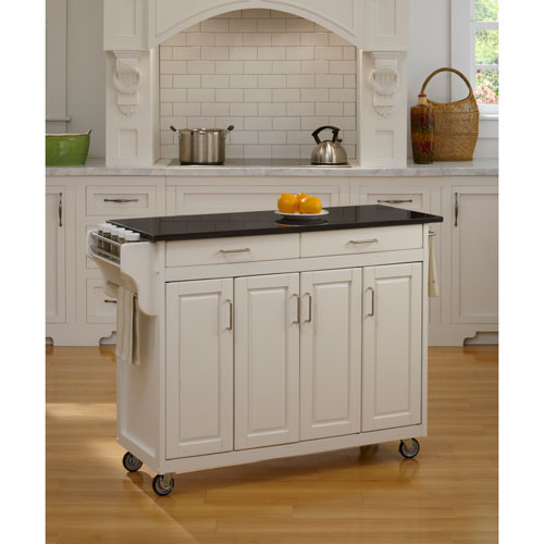 Create-a-Cart White Finish Black Granite Top