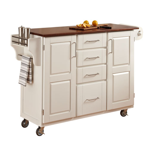 Home Styles Furniture Create-a-Cart White Finish with Oak Top