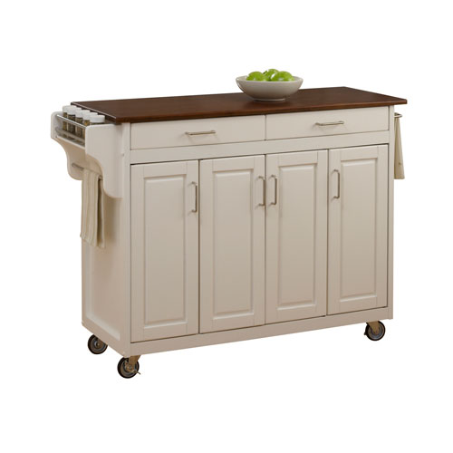 Create-a-Cart White Finish with Cherry Top