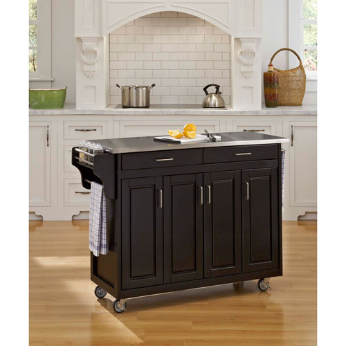 Create-a-Cart Black Finish Stainless Top