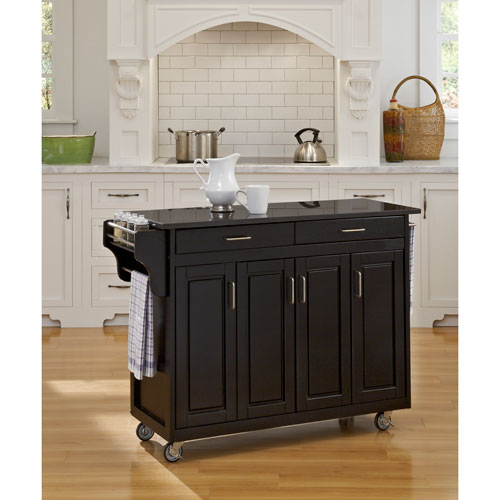 Home Styles Furniture Create-a-Cart Black Finish Black Granite Top