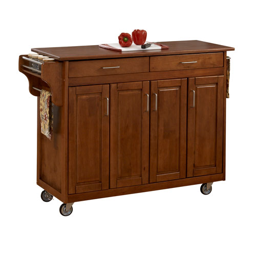 Create-a-Cart Warm Oak Finish with Oak Top