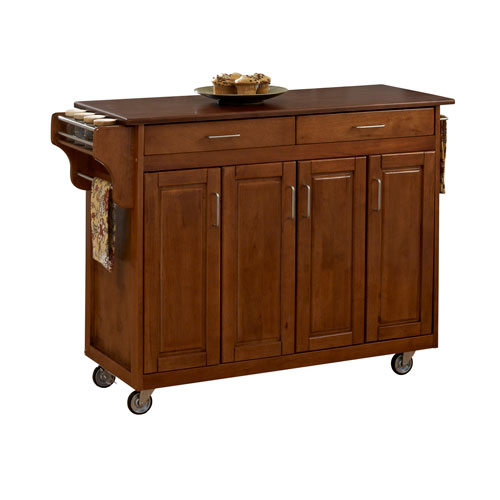 Home Styles Furniture Create-a-Cart Warm Oak Finish with Cherry Top