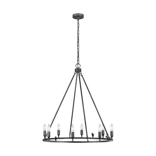 Caroline Aged Iron Eight-Light Chandelier