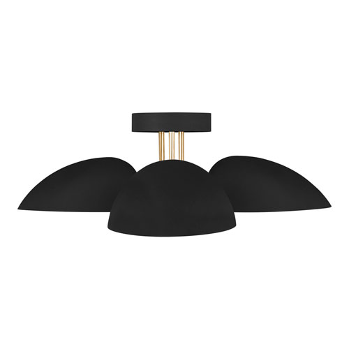 Jane Midnight Black Three-Light Flush Mount