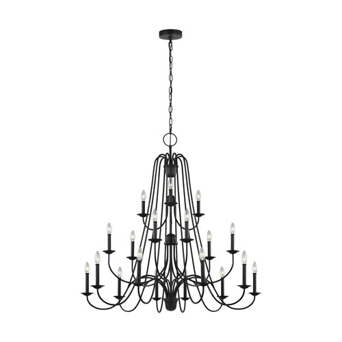 Boughton Antique Forged Iron 18-Light Chandelier