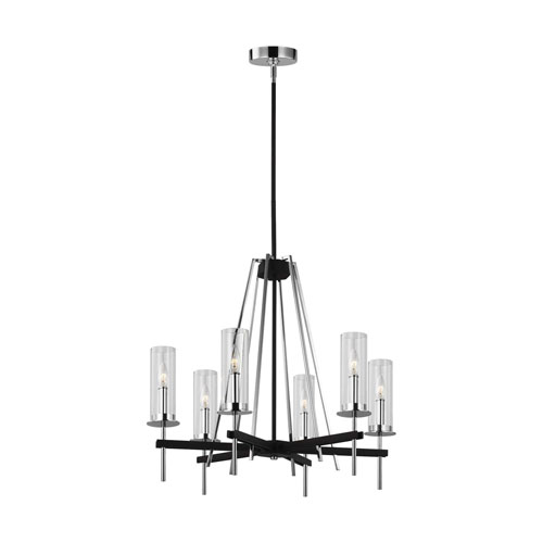 Broderick Textured Black Six-Light Chandelier