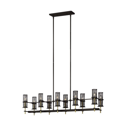 Feiss Palmyra Oiled Rubbed Bronze and Burnished Brass 10-Light Chandelier