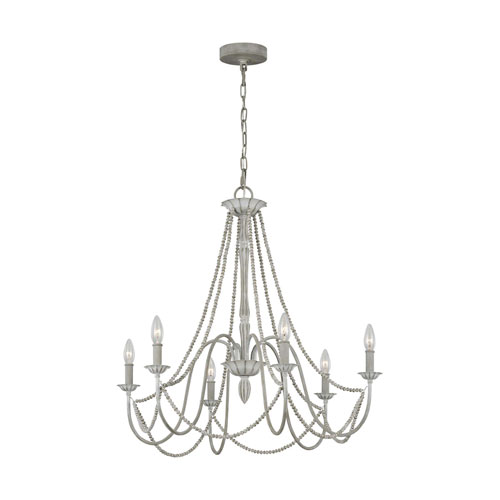 Maryville Washed Grey Six-Light Chandelier