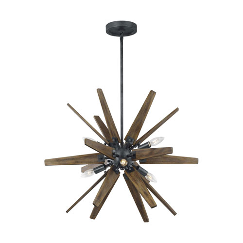 Thorne Dark Weathered Zinc and Weathered Oak Six-Light Chandelier