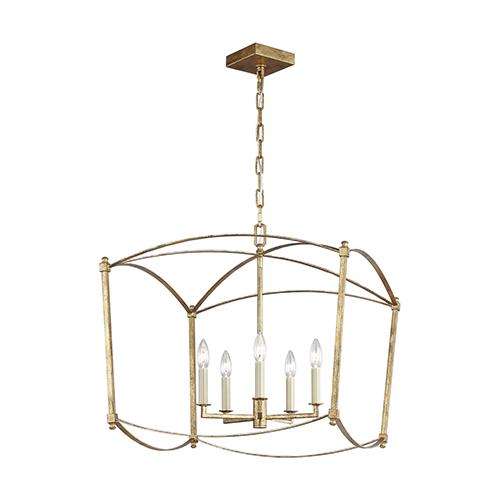 Thayer Antique Gold Five-Light 23-Inch Chandelier