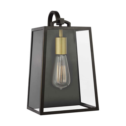 Lindbergh 13-Inch Antique Bronze and Painted Burnished Brass One-Light Outdoor Wall Lantern