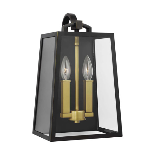 Lindbergh Antique Bronze and Painted Burnished Brass Two-Light Outdoor Wall Lantern
