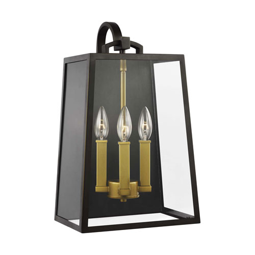 Lindbergh Antique Bronze and Painted Burnished Brass Three-Light Outdoor Wall Lantern