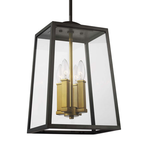 Lindbergh Antique Bronze and Painted Burnished Brass Four-Light Outdoor Pendant