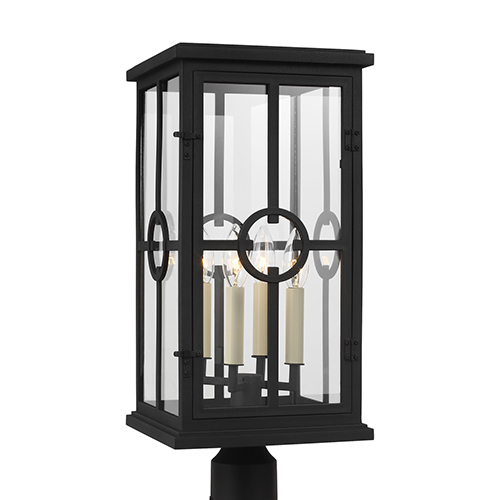 Belleville Textured Black Four-Light Outdoor Post Lantern