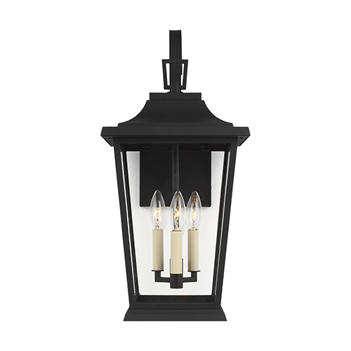Warren Textured Black Three-Light Outdoor Wall Lantern