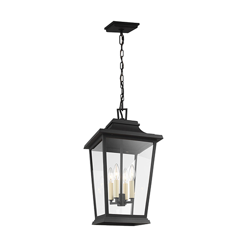 Warren Textured Black Four-Light Outdoor Pendant