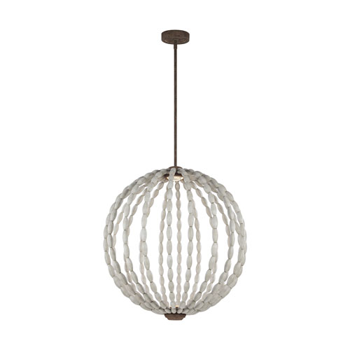 Feiss Orren Driftwood Grey and Weathered Iron 32-Inch LED Globe Pendant