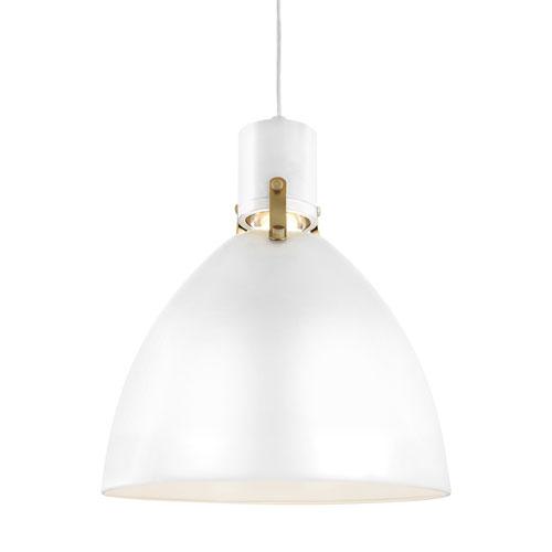Brynne Flat White 14-Inch LED Dome Pendant