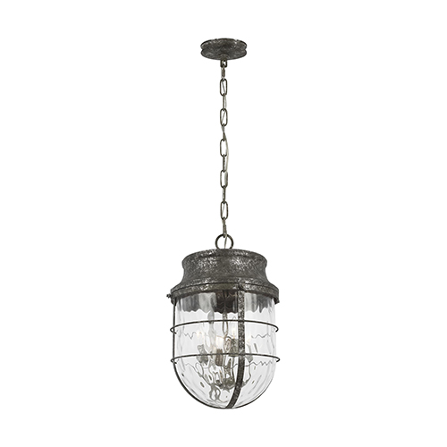 Parson Distressed Silver Leaf Four-Light Pendant