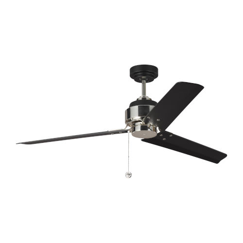 Arcade Midnight Black Polished Nickel 54-Inch Ceiling Fan
