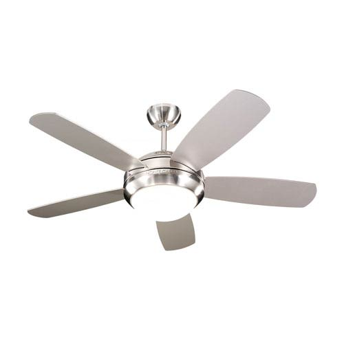 Discus Brushed Steel 44-Inch Ceiling Fan with Silver Blades
