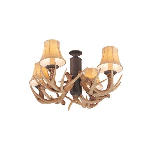 Rustic lodge ceiling fans free shipping bellacor great lodge weathered iron antler four light ceiling fan light kit aloadofball Image collections