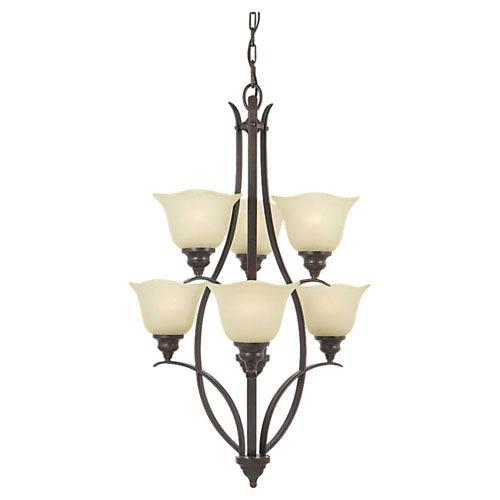 Feiss Morningside Grecian Bronze Six-Light Multi-Tier Chandelier