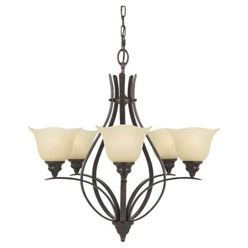 Feiss Morningside Grecian Bronze Five-Light Chandelier