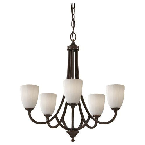 Feiss Perry Heritage Bronze Five-Light Single Tier Chandelier